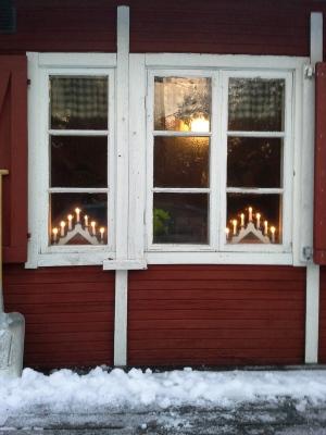 Välkomnande fönster i skyttepaviljongen